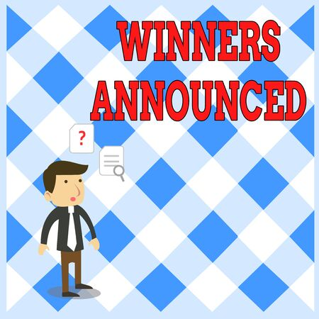 Handwriting text writing Winners Announced. Conceptual photo Announcing who won the contest or any competition Young Male Businessman Office Worker Standing Searching Problem Solution Stock Photo - 124893006