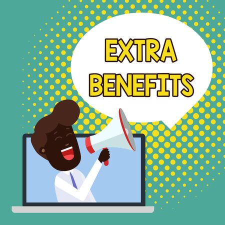 Text sign showing Extra Benefits. Business photo showcasing Additional compensation Bonus Subsidies Incentives Allowances Man Speaking Through Laptop into Loudhailer Blank Speech Bubble Announce Reklamní fotografie - 124894561