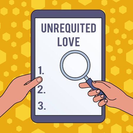 Handwriting text writing Unrequited Love. Conceptual photo not openly reciprocated or understood as such by beloved Hands Holding Magnifying Glass Against Switched Off Touch Screen Tablet