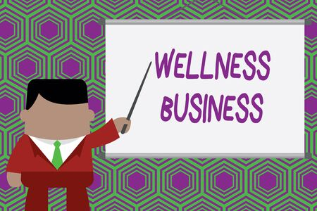 Conceptual hand writing showing Wellness Business. Concept meaning Professional venture focusing the health of mind and body Businessman standing in front projector pointing project idea