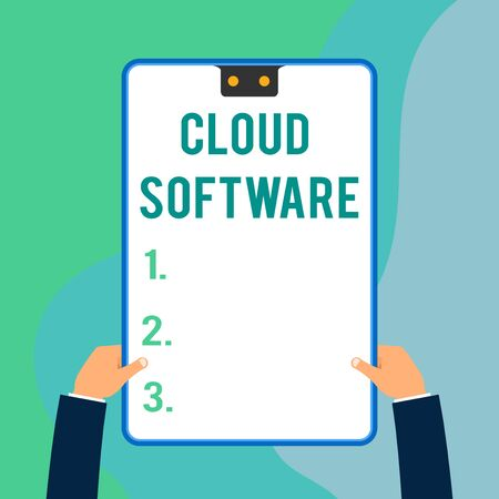Conceptual hand writing showing Cloud Software. Concept meaning Programs used in Storing Accessing data over the internet Two executive male hands electronic device geometrical background Banque d'images - 124894589