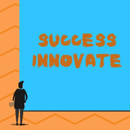 Text sign showing Success Innovate. Business photo text make organizations more adaptive to market forces Man stands in back view in front of huge empty blank big rectangle board
