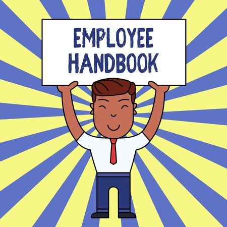 Handwriting text writing Employee Handbook. Conceptual photo Document that contains an operating procedures of company Smiling Man Standing Holding Big Empty Placard Overhead with Both Hands Reklamní fotografie