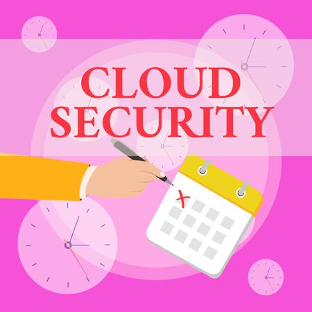 Writing note showing Cloud Security. Business concept for Protect the stored information safe Controlled technology Formal Suit Crosses Off One Day Calendar Red Ink Ballpoint Pen Banque d'images - 124894618