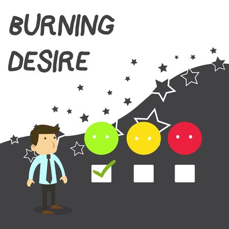Text sign showing Burning Desire. Business photo text Extremely interested in something Wanted it very much White Male Questionnaire Survey Choice Checklist Satisfaction Green Tick Stock Photo - 124894624