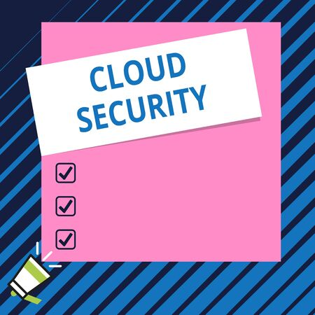 Conceptual hand writing showing Cloud Security. Concept meaning Protect the stored information safe Controlled technology Speaking trumpet on bottom and paper on rectangle background Imagens