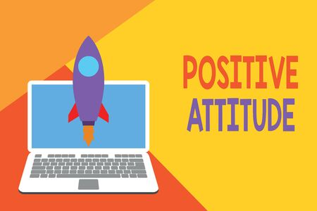 Text sign showing Positive Attitude. Business photo showcasing Being optimistic in Life Looking for good things Launching rocket up laptop . Startup project. Developing goal objectives