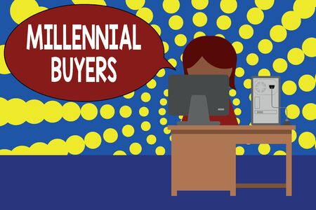 Word writing text Millennial Buyers. Business photo showcasing Type of consumers that are interested in trending products Young female working office sitting desktop computer office monitor photo