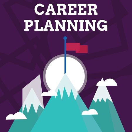 Handwriting text writing Career Planning. Conceptual photo A list of goals and the actions you can take to achieve them Three High Mountains with Snow and One has Blank Colorful Flag at the Peak Stock Photo
