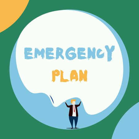 Conceptual hand writing showing Emergency Plan. Concept meaning Procedures for response to major emergencies Be prepared Front view Man dressed suit tie two hands up big balloon