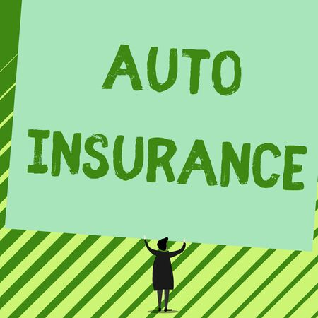 Word writing text Auto Insurance. Business photo showcasing Protection against financial loss in case of accident Man stands in back view under huge empty blank big tilted rectangle board