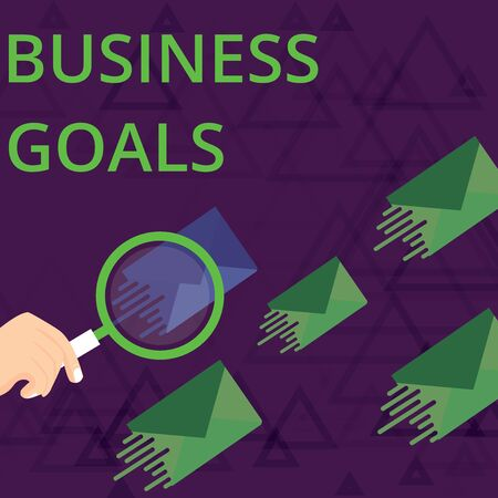 Text sign showing Business Goals. Business photo showcasing Expectation to accomplish over a specific period of time Magnifying Glass on One Different Color Envelope and others has Same Shade