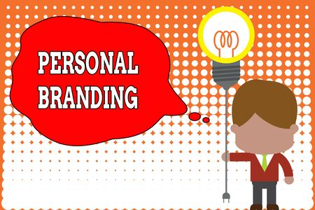 Handwriting text writing Personal Branding. Conceptual photo Practice of People Marketing themselves Image as Brands Standing man tie holding plug socket light bulb to connect idea. Startup Imagens