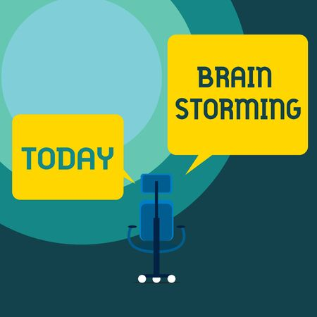 Conceptual hand writing showing Brain Storming. Concept meaning Stimulating creative thinking Developing new ideas Discussion Executive chair sharing two blank square speech bubbles side
