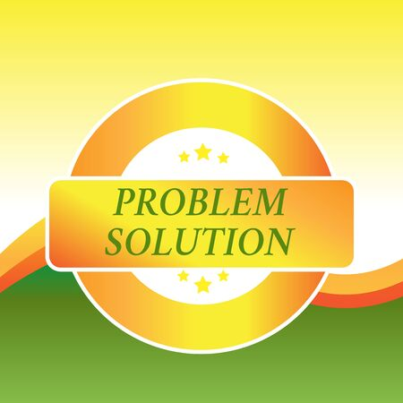 Writing note showing Problem Solution. Business concept for solving consists of using generic methods in orderly analysisner Colored Round Shape Label Badge Stars Blank Rectangular Text Box Award Imagens