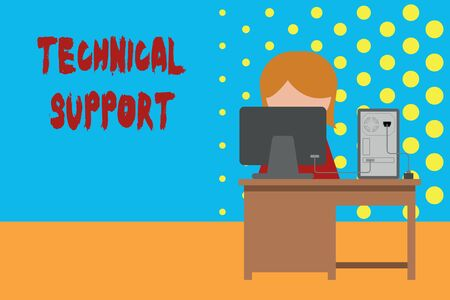 Conceptual hand writing showing Technical Support. Concept meaning Repair and advice services to users of their products Young female working in office computer office monitor photo