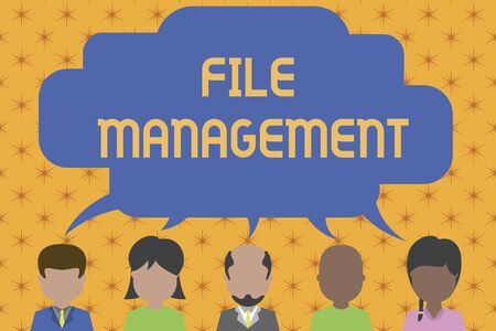 Word writing text File Management. Business photo showcasing computer program that provides user interface to analysisage data Five different races persons sharing blank speech bubble. People talking Banco de Imagens