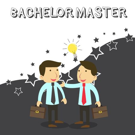 Word writing text Bachelor Master. Business photo showcasing An advanced degree completed after bachelor s is degree Two White Businessmen Colleagues with Brief Cases Sharing Idea Solution Stock Photo
