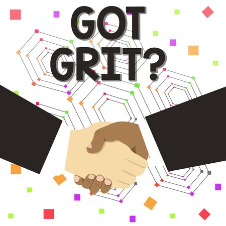 Text sign showing Got Grit Question. Business photo text A hardwork with perseverance towards the desired goal Hand Shake Multiracial Male Business Partners Colleagues Formal Black Suits Imagens