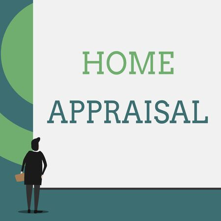 Text sign showing Home Appraisal. Business photo showcasing Determines the real worth and the Evaluation of property Back view young woman watching blank big rectangle. Geometrical background