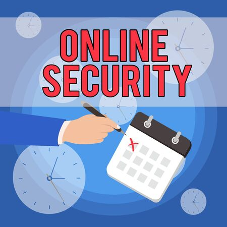 Text sign showing Online Security. Business photo showcasing rules to protect against attacks over the Internet Male Hand Formal Suit Crosses Off One Day Calendar Red Ink Ballpoint Pen