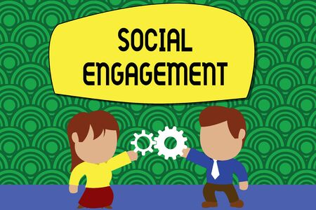 Word writing text Social Engagement. Business photo showcasing Degree of engagement in an online community or society Standing young couple sharing gear. Man tie woman skirt commerce relation Stock Photo