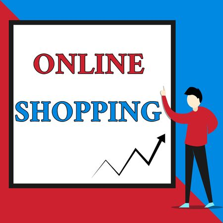 Text sign showing Online Shopping. Business photo text allows consumers to buy their goods over the Internet View young man standing pointing up blank rectangle Geometric background