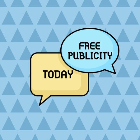 Text sign showing Free Publicity. Business photo showcasing Promotional marketing Mass media Public Relations Editorial Pair of Overlapping Blank Speech Bubbles of Oval and Rectangular Shape