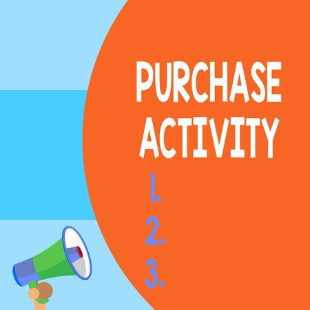 Handwriting text writing Purchase Activity. Conceptual photo Acquiring goods to achieve the goals of an organization Half part blank huge balloon empty text with small megaphone. Announcement