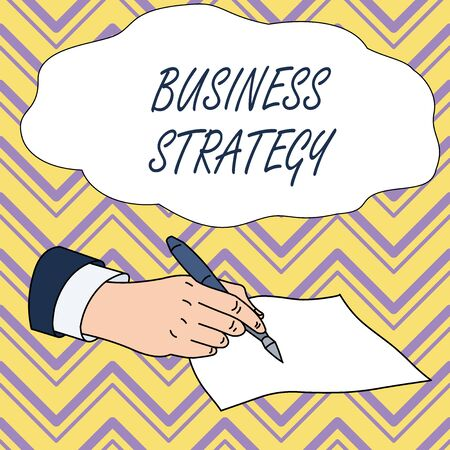 Conceptual hand writing showing Business Strategy. Concept meaning Management game plan to achieve desired goal or objective Male Hand Formal Suit Holding Ballpoint Pen Piece of Paper Writing Banque d'images - 124895664