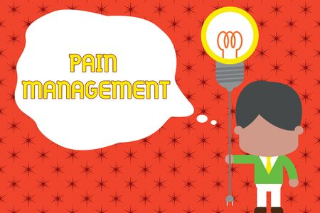 Word writing text Pain Management. Business photo showcasing a branch of medicine employing an interdisciplinary approach Standing man tie holding plug socket light bulb to connect idea. Startup Фото со стока