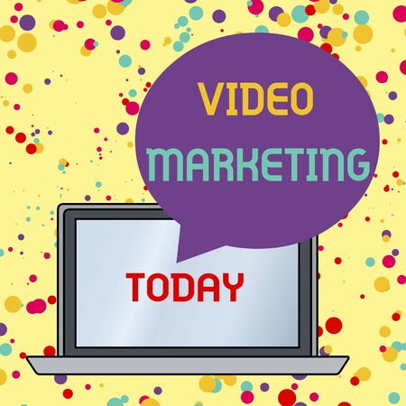 Text sign showing Video Marketing. Business photo text create short videos about specific topics using articles Round Shape Empty Speech Bubble Floating Over Open Laptop Colored Backdrop Stok Fotoğraf
