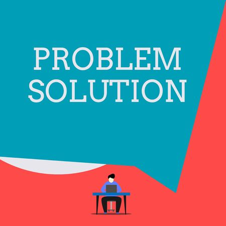Writing note showing Problem Solution. Business concept for solving consists of using generic methods in orderly analysisner Man sitting chair desk working laptop geometric background