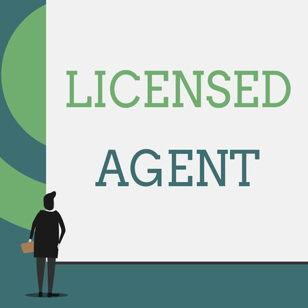 Text sign showing Licensed Agent. Business photo showcasing Authorized and Accredited seller of insurance policies Back view young woman watching blank big rectangle. Geometrical background