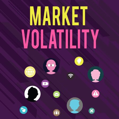 Conceptual hand writing showing Market Volatility. Concept meaning Underlying securities prices fluctuates Stability status Networking Technical Icons Chat Heads on Screen for Link Up