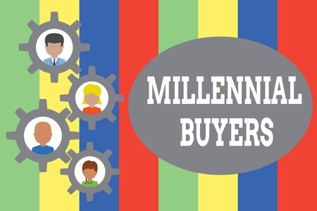 Text sign showing Millennial Buyers. Business photo showcasing Type of consumers that are interested in trending products Gearshaped picture frame family ornament mother father daughter son photo Stock Photo - 124842059