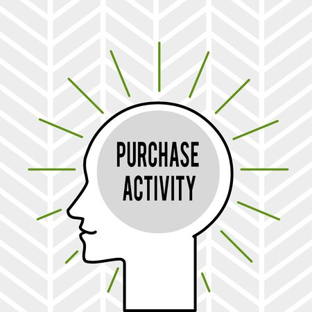 Handwriting text writing Purchase Activity. Conceptual photo Acquiring goods to achieve the goals of an organization Outline Silhouette Human Head Surrounded by Light Rays Blank Text Space Banco de Imagens
