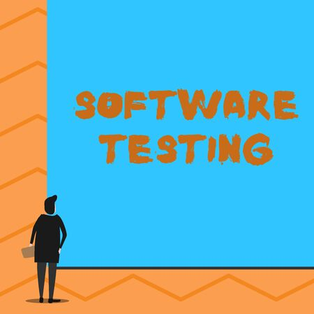 Text sign showing Software Testing. Business photo text investigation provide information about the quality of it Man stands in back view in front of huge empty blank big rectangle board
