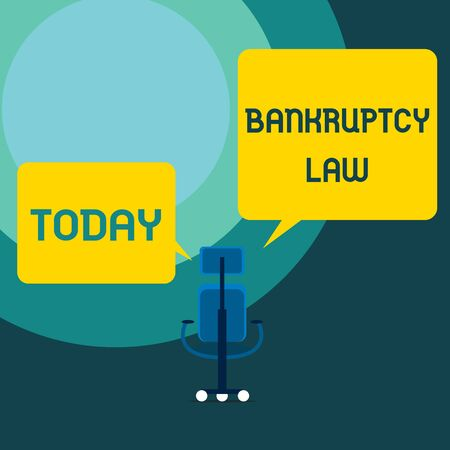 Conceptual hand writing showing Bankruptcy Law. Concept meaning Designed to help creditor in getting the asset of the debtor Executive chair sharing two blank square speech bubbles side