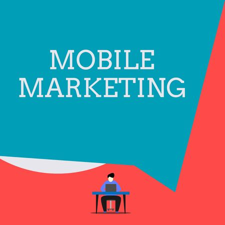 Writing note showing Mobile Marketing. Business concept for technique focused reaching audience on their smart device Man sitting chair desk working laptop geometric background Imagens