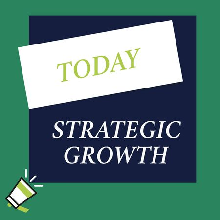 Writing note showing Strategic Growth. Business concept for create plan or schedule to increase stocks or improvement Speaking trumpet on left bottom and paper to rectangle background