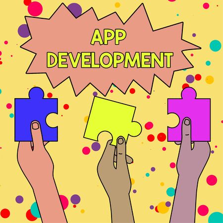 Text sign showing App Development. Business photo showcasing Development services for awesome mobile and web experiences Three Colored Empty Jigsaw Puzzle Pieces Held in Different People Hands