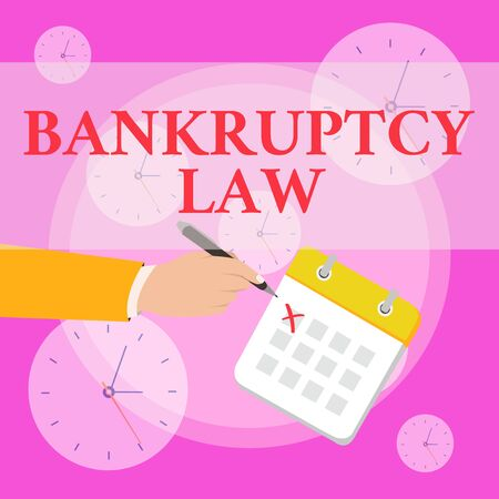 Writing note showing Bankruptcy Law. Business concept for Designed to help creditor in getting the asset of the debtor Formal Suit Crosses Off One Day Calendar Red Ink Ballpoint Pen