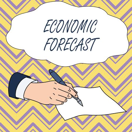 Conceptual hand writing showing Economic Forecast. Concept meaning Process of making predictions about the economy condition Male Hand Formal Suit Holding Ballpoint Pen Piece of Paper Writing Reklamní fotografie - 124895788