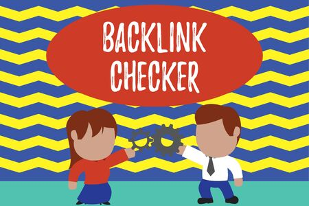 Conceptual hand writing showing Backlink Checker. Concept meaning Find your competitors most valuable ones and spot patterns Young couple sharing gear Man tie woman skirt relation