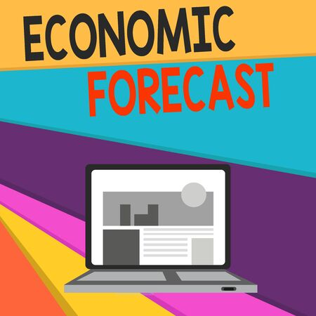 Handwriting text writing Economic Forecast. Conceptual photo Process of making predictions about the economy condition Open Modern Laptop Switched On with Website Homepage on Screen Web Search Reklamní fotografie - 124895890
