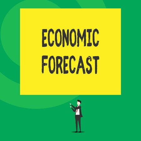 Word writing text Economic Forecast. Business photo showcasing Process of making predictions about the economy condition Isolated view young man standing pointing upwards two hands big rectangle