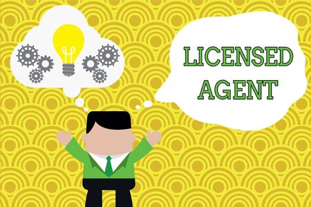 Word writing text Licensed Agent. Business photo showcasing Authorized and Accredited seller of insurance policies Standing man suit hands up imaginary bubble light bulb gears working together Stock Photo