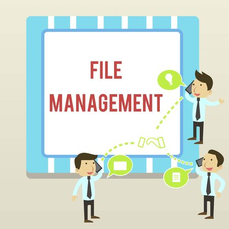 Word writing text File Management. Business photo showcasing computer program that provides user interface to analysisage data Businessmen Coworkers Conference Call Conversation Discussion Mobile Phones