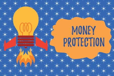 Writing note showing Money Protection. Business concept for protects the rental money tenant pays to landlord Top view launching bulb rocket fire base Project Fuel idea